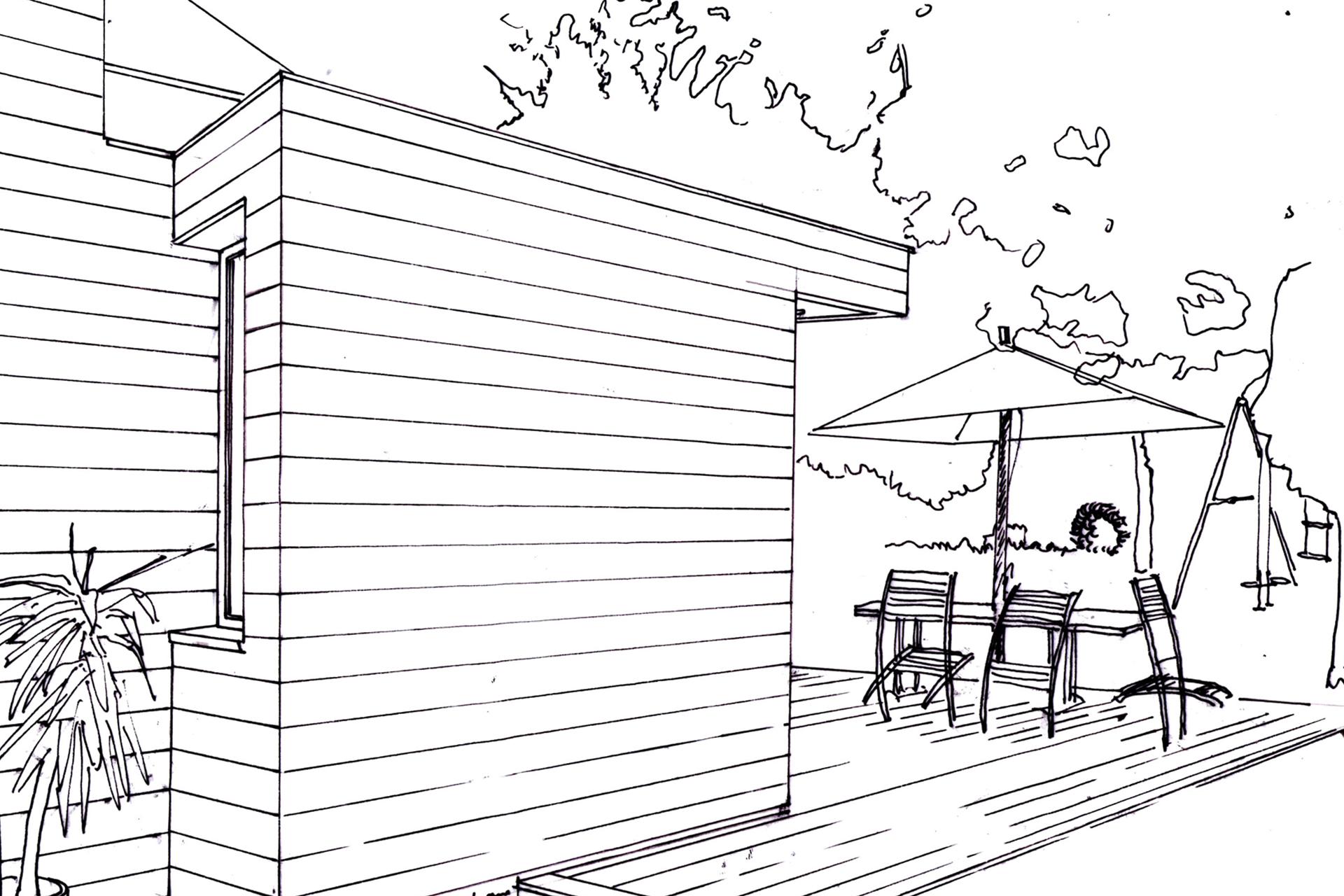 croquis extension et terrasse