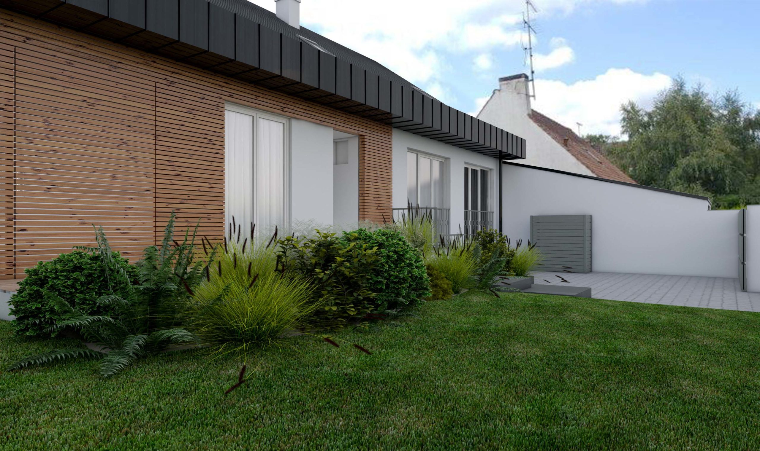 Requalification façade sur rue, bois et zinc