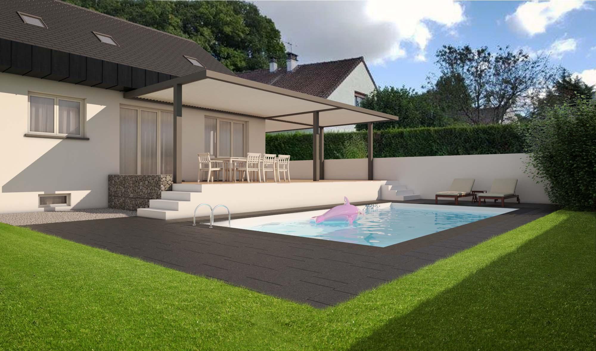 Requalification façade sur jardin, bois, zinc, piscine, terrasse et pergola