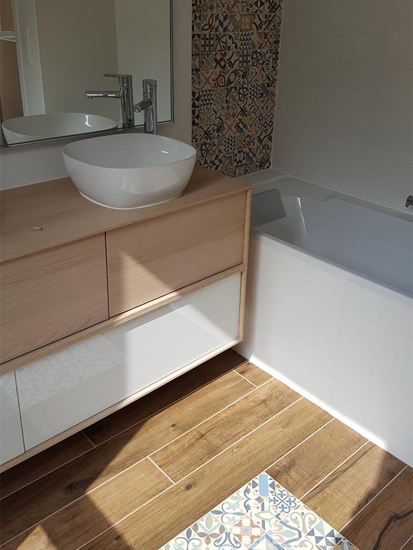 Surélévation salle de bains, mosaïque