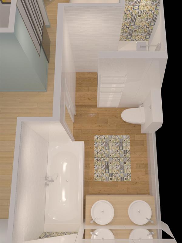 Surélévation salle de bains 3d